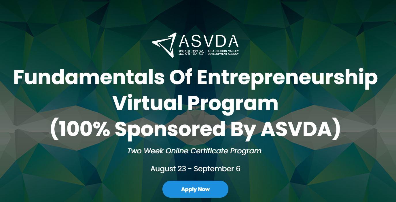 Registration for Fundamentals of Entrepreneurship Virtual Program of ASVDA Open!